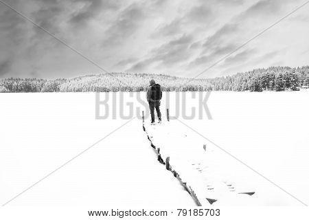 Man In Snow Winter