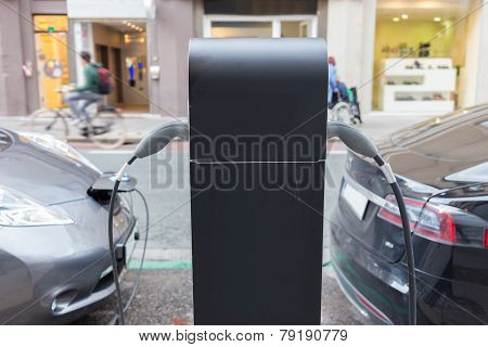 Electric Car in Charging Station.