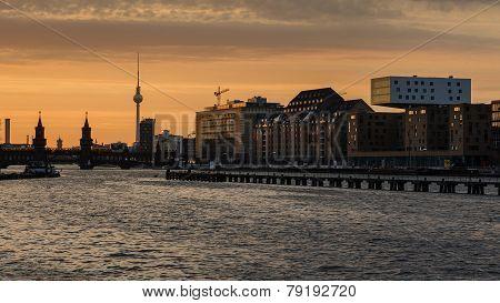 Berlin Oberbaumbrucke With Tv Tower