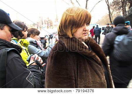 Lawyer Violetta Volkova Near Prison Where There Is An Arrested Politician Nikolay Lyaskin