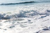splash of seawater with sea foam and waves poster