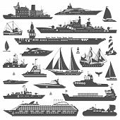 Super set of water carriage and maritime transport in modern flat design style. Ship boat vessel warship cargo ship cruise ship yacht wherry hovercraft. Logo icons isolated on white background poster