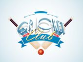 3D text Cricket Club with bats and ball on sky blue background. poster