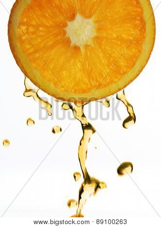 Orange juice droping from orange slice