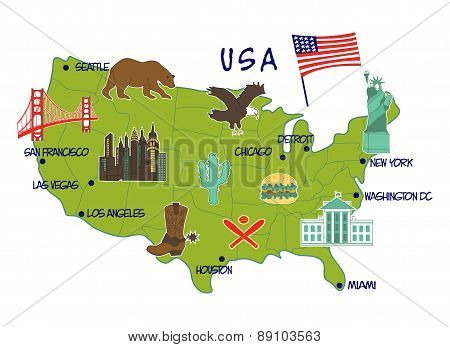 map of USA with typical features