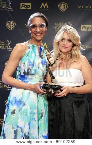BURBANK - APR 26: Carla Hall, Daphne Oz at the 42nd Daytime Emmy Awards Gala at Warner Bros. Studio on April 26, 2015 in Burbank, California