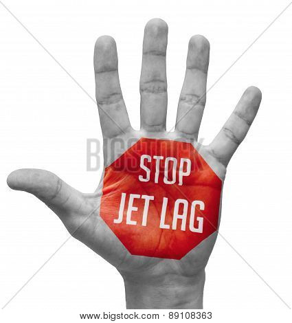 Stop Jet Lag Concept on Open Hand.