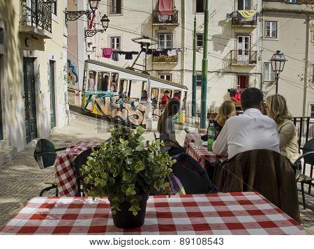 Ascensor Da Bica In Lisbon, Portugal.