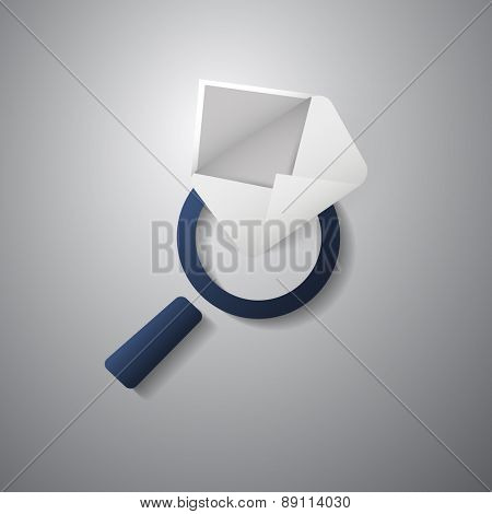 Mail or E-mail Icon Design with Magnifying Glass Symbol
