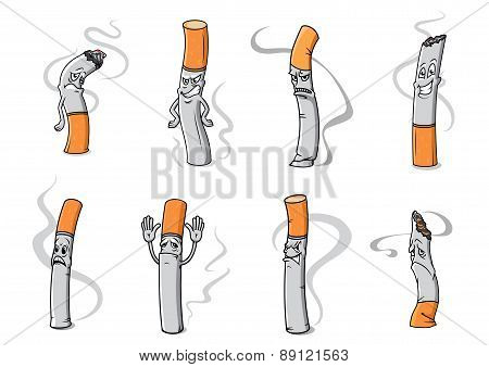 Angry, sad and unhappy cigarette cartoon characters