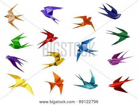 Colorful origami paper swallow birds