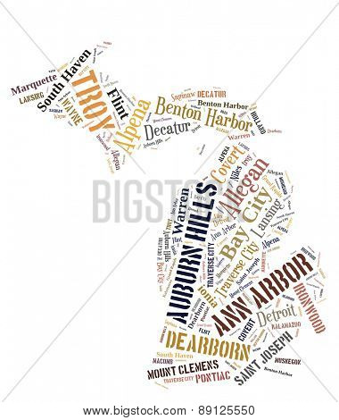 Word Cloud in the shape of Michigan showing some of the cities in the state