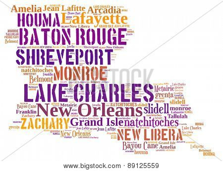 Word Cloud in the shape of Louisiana showing some of the cities in the state