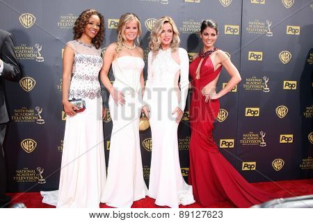 LOS ANGELES - APR 26:  Chrystee Pharris, Crystal Hunt, Donna Mills, Lindsay Hartley at the 2015 Daytime Emmy Awards at the Warner Brothers Studio Lot on April 26, 2015 in Burbank, CA
