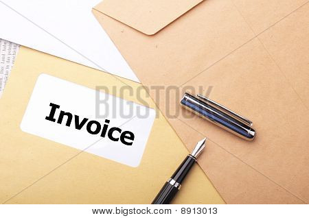 invoice mail concept with envelop showing business poster