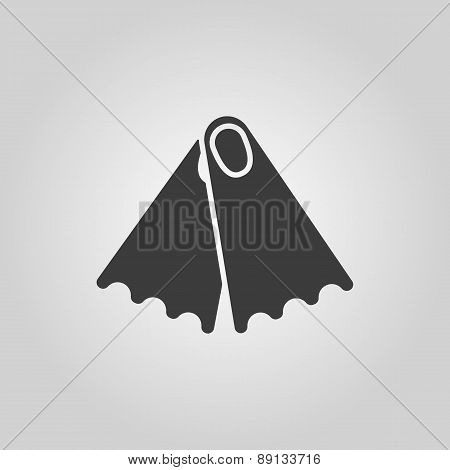 The Flippers Icon. Diving Symbol. Flat