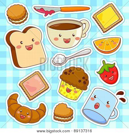 happy cartoon foods