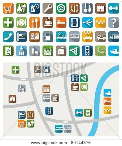 City Map, Color Icons, Servic...