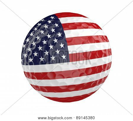 Golf ball 3D render with flag of United States, isolated on white