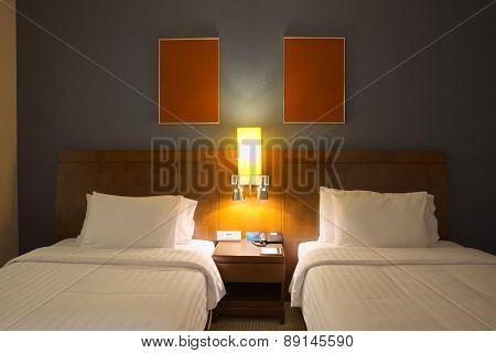 Empty twin beds room