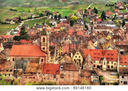 View Of Riquewihr Village In Alsace, France