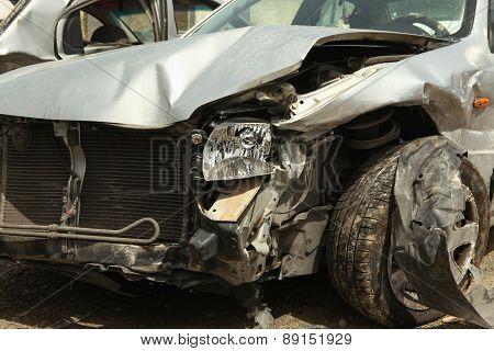 Car crash image with damage to front left side poster