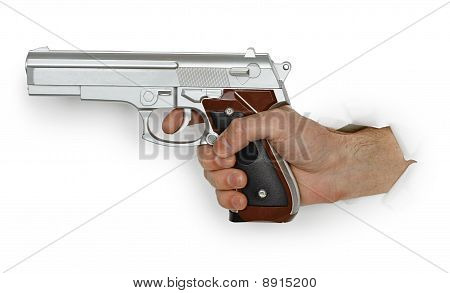Hand With Pistol On White Background