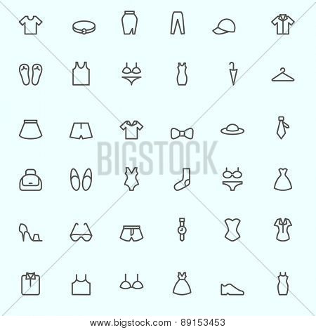 Clothing icons, simple and thin line design