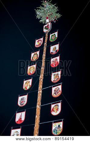Traditional german maypole at night, Maibaum