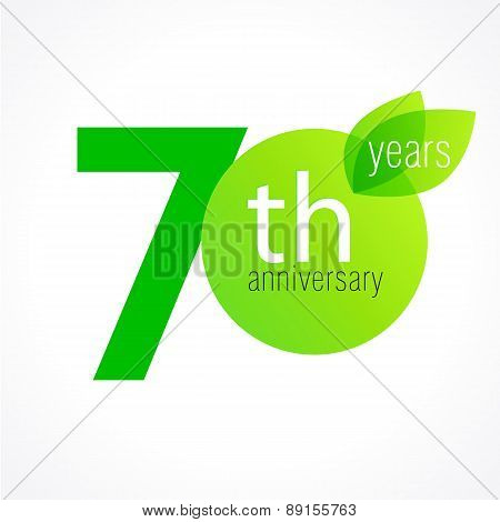 70 years old celebrating green leaves logo. Anniversary year of 70 th vector template. Birthday greetings celebrates. Environmental protection, natural products jubilee ages. Letter O with leaf.