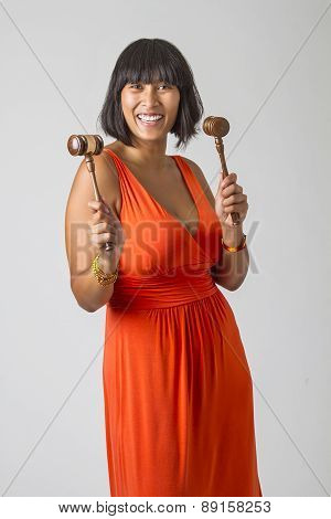 Two Gavel In Hand