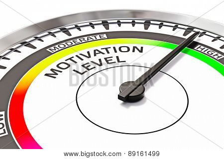 Motivation level concept - gage dial close up measuring high motivation