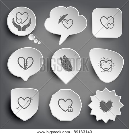 love in hands, protection love, careful heart, unrequited love, atomic heart, heart and arrow, closed heart. White raster buttons on gray.
