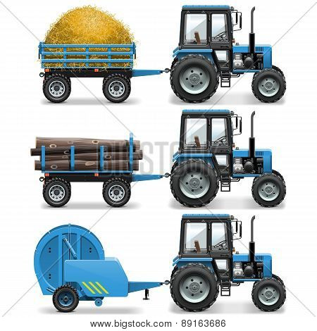 Vector Farm Tractor With Baler And Trolley