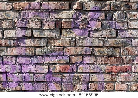 Old Brick Wall Background With Elements Of Paint.