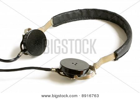 The old earphones on a white background poster