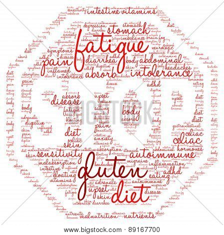 Gluten Stop Sign Shaped Word Cloud