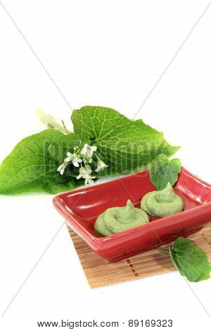 Fresh Spicy Wasabi With Leaf And Blossom