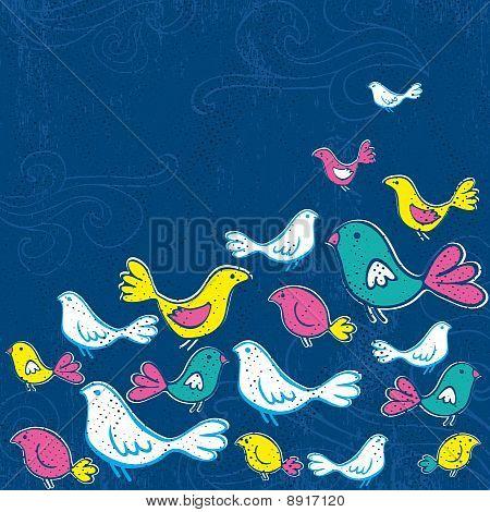hand draw birds on grunge blue background vector poster
