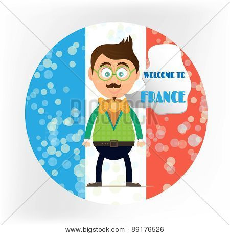 Isolated, round sign - french flag with young, smiling man, text Welcome in France