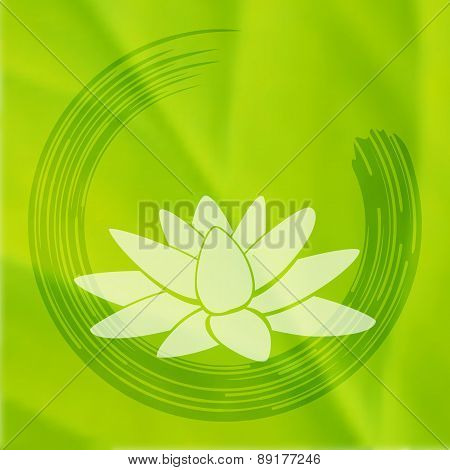 Vector Enso Zen Circle With Lotus Flower.