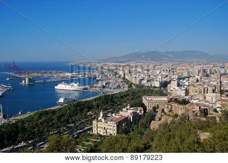 Malaga port and city.
