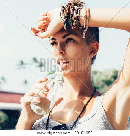 Outdoor Summer Portrait Of Woman Drinks Water