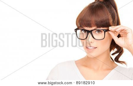 happiness, health and vision concept - smiling asian woman adjusting eyeglasses