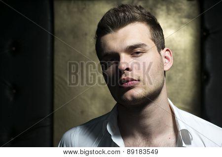 Fashion Man Face Close Up