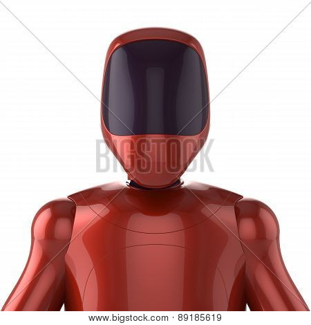 Robot Red Futuristic Cyborg Bot Android Avatar Concept