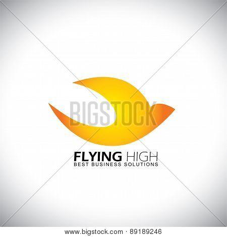 Lively Happy Bird Flying High Concept Logo Vector Icon