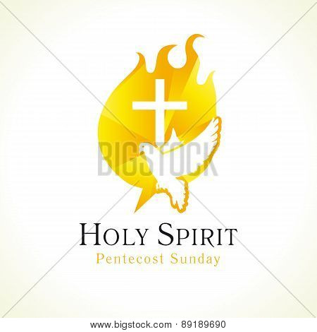Holy Spirit Pentecost Sunday vector greetings. Fiery flaming shining glowing sign gold colored, white flying dove in sky. Christian religious invite flyer. Trinity holiday celebrating and peace symbol. Church logo. poster