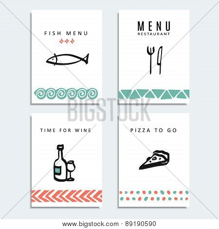 Set Of Resaturant Menu Cards With Food Line Sketch Icons, Vector