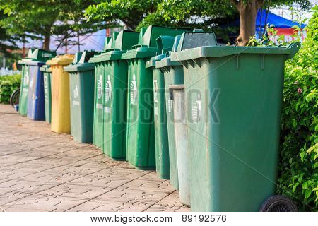 Trash Cans In A Row